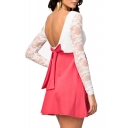 Color Block Scoop Lace Long  Sleeve Open Back Dress with Bow