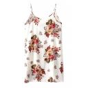 Casual White Background Flower Print Slip Dress