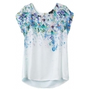 White Short Sleeve Blue Flora Print Back Zip Blouse