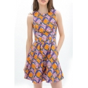 Sleeveless Fresh Geometry Pattern A-line Dress
