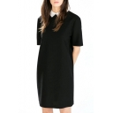Black Lapel Short Sleeve Shift Dress