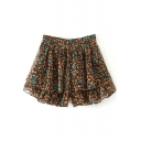 Floral Print Ruffle Hem Chiffon Skirt