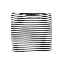 Stripe Print Mini Skinny Pencil Skirt