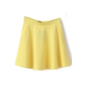 Yellow Plain Ruffle Hem Pocket Chiffon Skirt