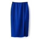 Blue High Waist Split Hem Midi Pencil Skirt
