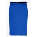 Blue Plain Belted High Waist Pencil Midi Skirt