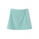 Green Plain Zipper Back Flare Mini Skirt