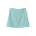Green Plain Zipper Back Flare Mini Skirt
