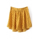 Yellow Elastic Waist Pleated Chiffon Skirt