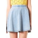 Light Blue Plain Light Wash Denim Skirt