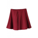 Burgundy Back Zip High Waist Pleated Skirt