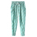 Green Star Print Drawstring Waist Harem Pants