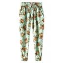 Green Floral Print Drawstring Waist Harem Pants