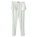 White Elastic Ruffled Waist Pencil Pants