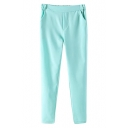 Blue Mid Waist Elastic Casual Pants