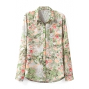 Vintage Scenery Print Long Sleeve Pocket Shirt