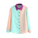 Color Block Purple Lapel Long Sleeve Shirt