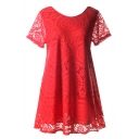 Red Short Sleeve Kaleidoscopic Lace Cutwork Swing Dress