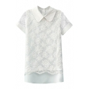 White Lace Insert Lapel Short Sleeve Top