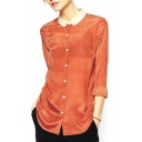 Orange Polka Dot Contrast Collar Long Sleeve Shirt