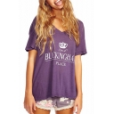 Purple BUCKINGHAM Crown Print Loose Tee