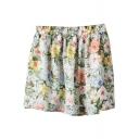 Green&Pink Flower Print Chiffon Skater Skirt