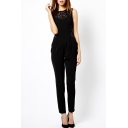 Black Sleeveless Lace Crochet Round Neck Jumpsuits