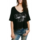 Black V-Neck Letter Print Loose T-Shirt