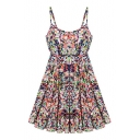 Colorful Print Spaghetti Strap Elastic Dress