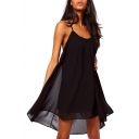 Black Spaghetti Strap Strappy Back Dip Hem Dress