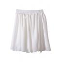 White Elastic Waist Chiffon Skirt