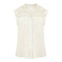 White Sleeveless Lave Flower Cutout Panel Shirt