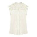 White Sleeveless Lave Flower Cutout Panel Shirt
