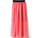 Watermelon Elastic Waist Chiffon Maxi Skirt