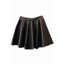 Black Gathered Waist Pleated PU Elastic Waist Skirt