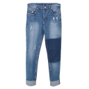 Blue High Rise Ripped Loose Jeans with Color Block