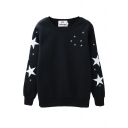 Black Star Print Round Neck Sweatshirt with Velvet Inside