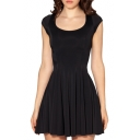 Round Neck Short Sleeve Basic Style A-line Black Mini Pleated Dress