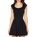 Round Neck Short Sleeve Basic Style A-line Black Mini Pleated Dress