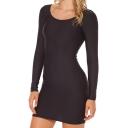 Black Long Sleeve Round Neck Bodycon Dress