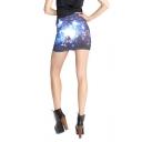Blue Space Galaxy Print Mini Skirt