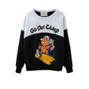 Garfield Cat Print Color Block Round Neck Sweatshirt In Loose Fit