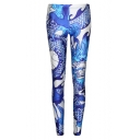 Blue High Waist Dragon Print Elastic Skinny Leggings