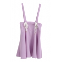 Sweet Japanese Style Drawstring Front Slip Mini Dress