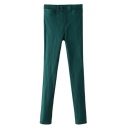 Spring Casual Style Double Button Embellish Zipper Fly Plain Elastic Pants