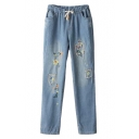 Mori Girl Style Flower Embroidered Distressed Elastic Waist Jeans