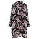 Vintage Blossom Print Step Hem Longline Chiffon Shirt