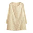 Vintage Elegant Style Flower Applique White Round Neck Smock Dress