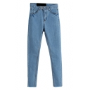 Blue Denim Plain Stitch Detail Wash Pencil Jeans