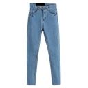Blue Denim Plain Stitch Detail Wash Pencil Jeans